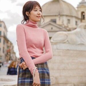 Image 3 - Инман осень 2018 г. новое поступление женский шерстяной Высокий воротник Fit диких моделей Тонкий пуловер свитер