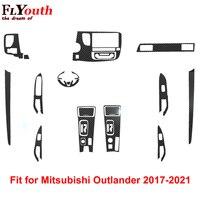 Carbon Faser Aufkleber für Mitsubishi Outlander 2017-2021 Auto Getriebe Shift Panel Wasser Tasse Halter Panel Rahmen Abdeckung Trim styling
