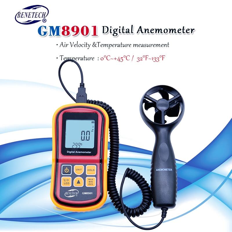 Anémomètre numérique portable 45 m/s (88MPH) GM8901 thermomètre numérique compteur de vitesse à main électronique avec boîte de transport