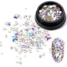 Flatback Rhinestone Nail-Art-Decorations Crystal Diamond Glitter Glass 3-Color Do Ozdoby