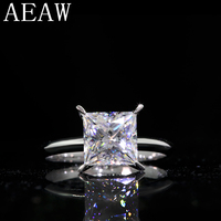 3.0Carat 8mm Pure 14k 585 White Gold Princess Cut Certified Moissanite Engagement Ring Solitaire Ring For Woman
