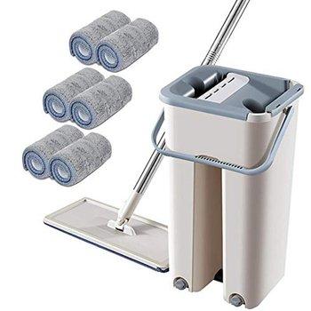 Lazy Man Free Hand-washing Flat Scraper Mop Microfiber Mop Mop Bucket Rod Mop Practical cleaning tools tanie i dobre opinie CN (pochodzenie) STAINLESS STEEL 1020 Beige fiber plastic stainless steel 128cmx33cm 2 4 6 8PCS mop(optional)