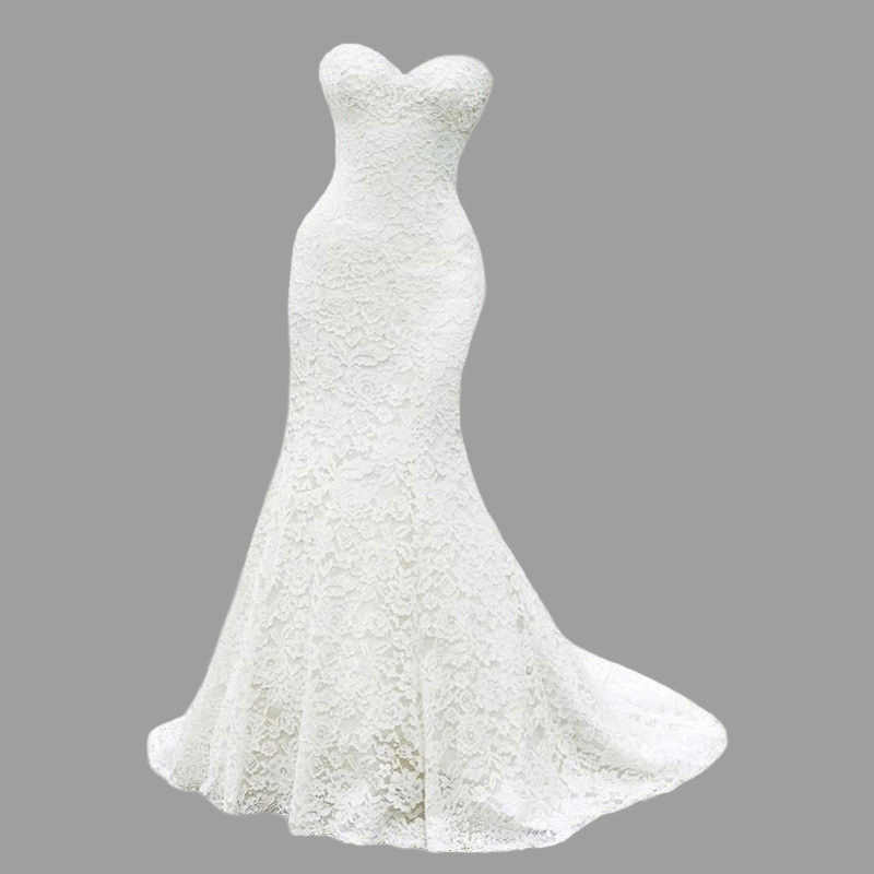 NBW108 Robe De Mariee Mermaid Kant Wedding Dress 2020 Sweetheart Bruidsjurken Bridal Eenvoudige Vestido De Noiva Custom Made Beach