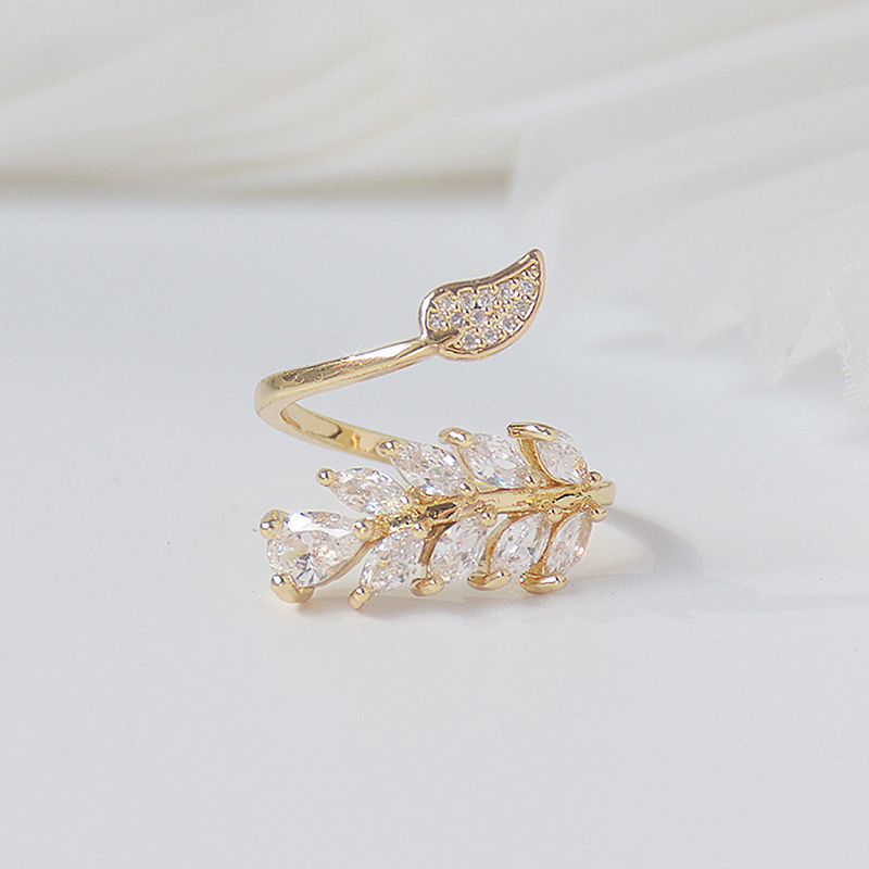 Mode coréenne 14K véritable or complet CZ laisser anneau pour les femmes réglable design ouvert AAA Zircon délicat quotidien bijoux pendentif 5