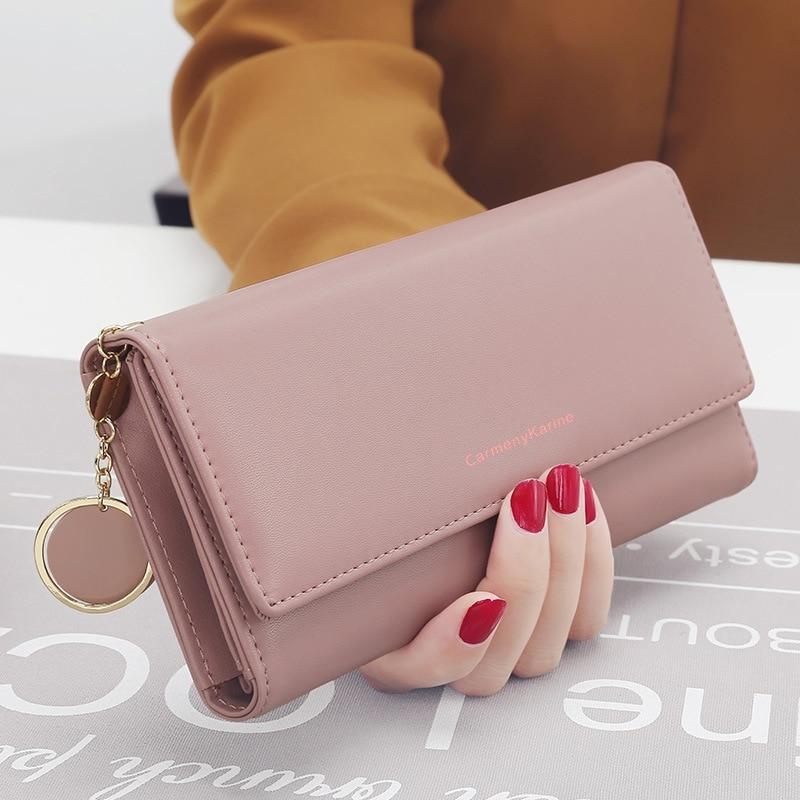 Новые модные женские кошельки, брендовый Длинный кошелек с буквенным принтом тройного сложения, кошелек, женский Кожаный клатч, держатель д...