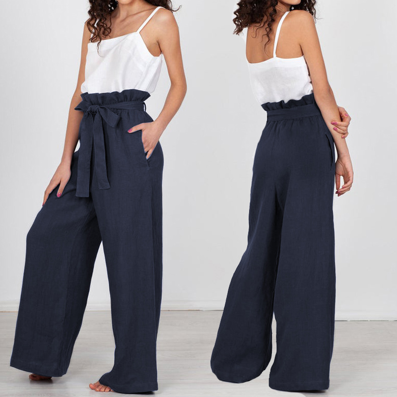 2019 Celmia High Waist Wide Leg Pants Women Solid Vintage Linen Trousers Belt Streetwear Female Pockets Plus Size Pantalon Femme