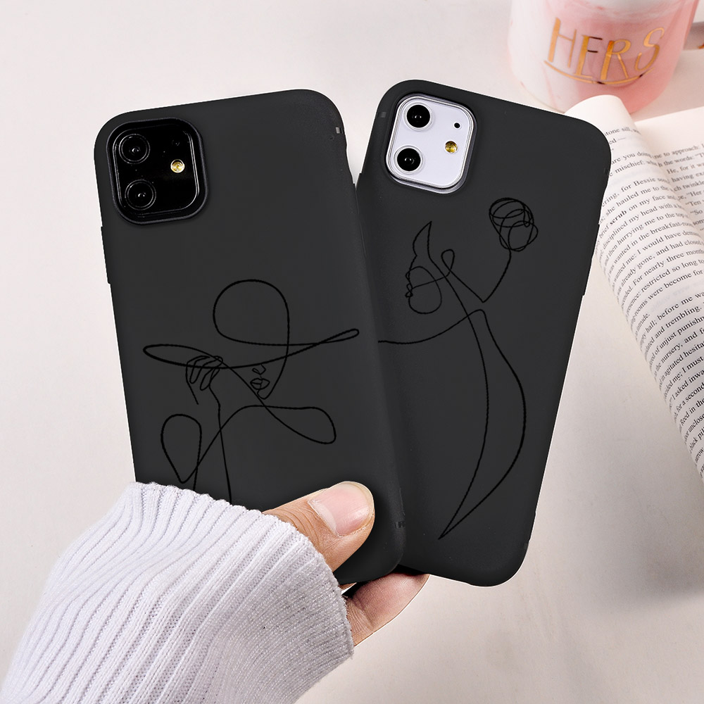 Fashion Pretty Girl Artlines Painted Phone Case Retro Simple Face Line  Coque Fundas For iPhone 11 Pro Max 6S 7 8Plus XR XS Max