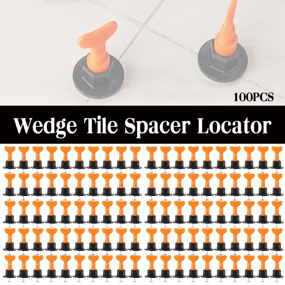 100Pcs/Set Alignment Tile Leveling Wedges Tile Spacers System Flat Ceramic Leveler for Floor Wall Construction Tools Locator