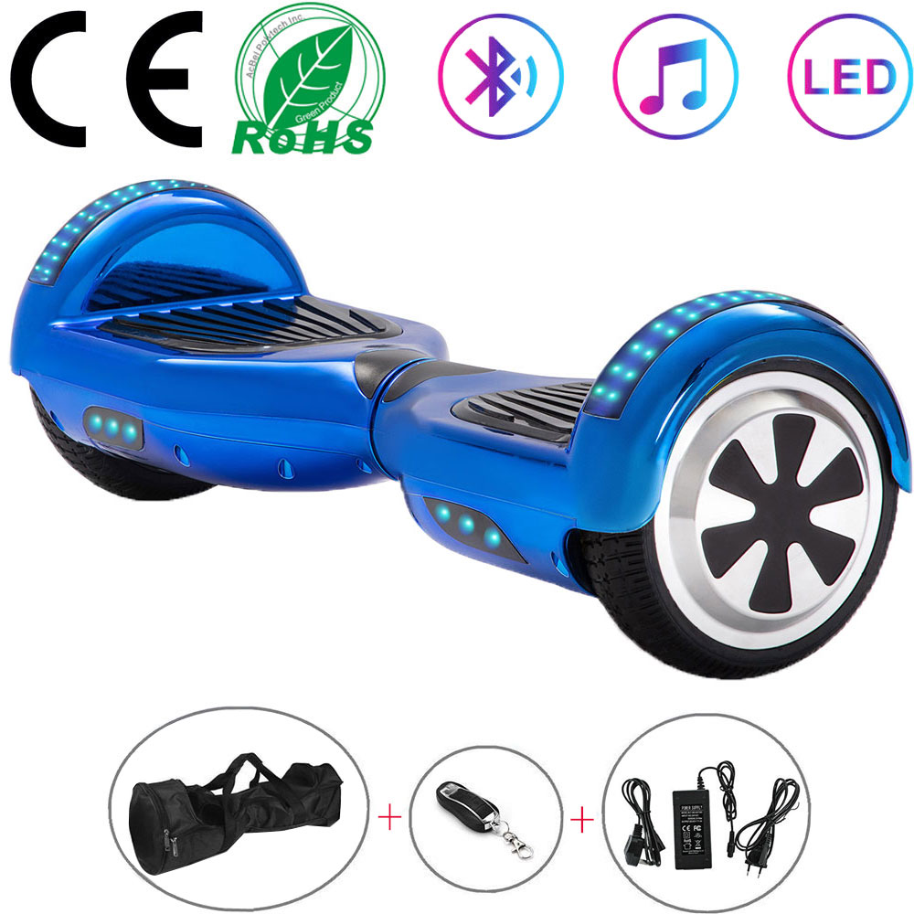 Electric Scooters 6.5 Inch Blue Chrome Hoverboard Self Balance Scooters Balance Board  Two Wheels Skateboard Bluetooth+Key+Bag