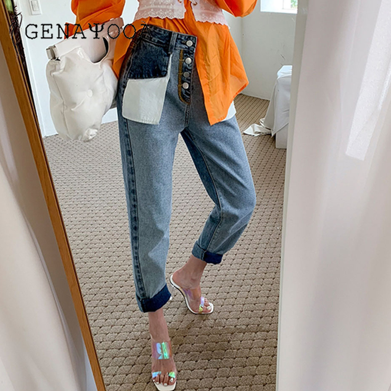 Genayooa Jeans Woman Cotton Ladies Vintage Loose Patchwork Streetwear Brand Women Boyfriends Jeans High Waist Pants Befree Denim