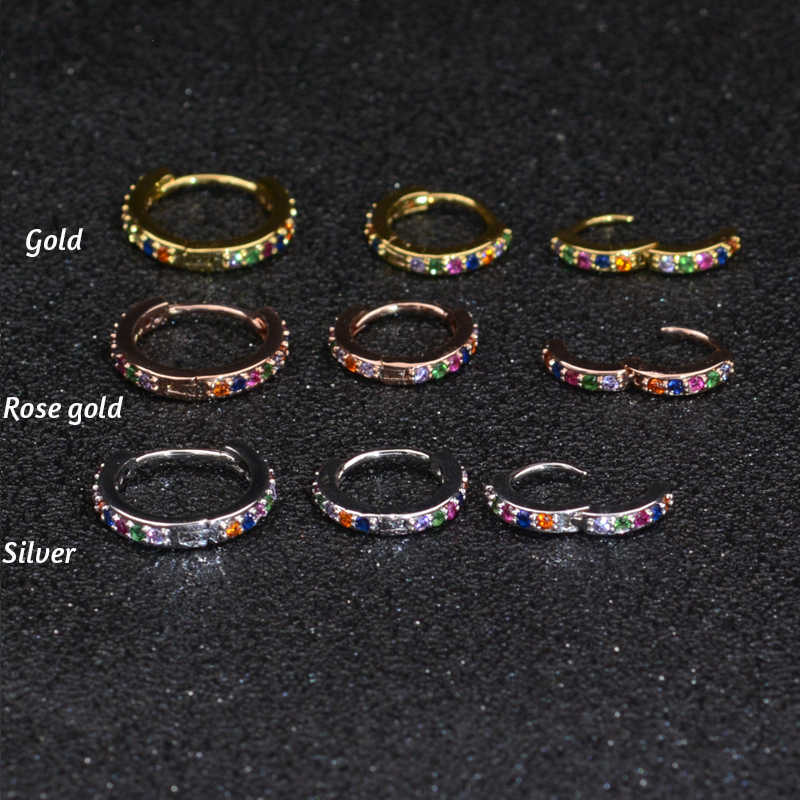 1Pc 6-10mm 0.8mm Bar Colorful CZ tragus daith earrings Piercing  helix cartilage hoop septum nostril piercing jewelry
