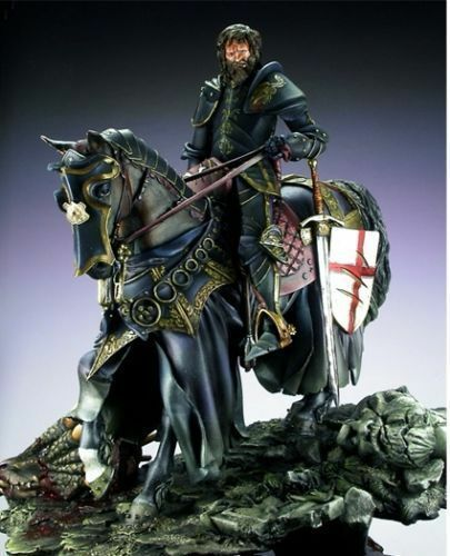 1/24 75mm  Ancient Officer Knight With Horse (WITH BASE ) Resin Figure Model Kits Miniature Gk Unassembly Unpainted