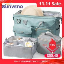 Sunveno Bolsa de pañales para bebé de gran capacidad, 34L, impermeable, moda, bolso de hombro para madre, bolsa de viaje para bebé de maternidad 3 en 1