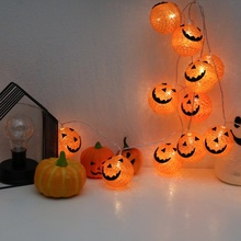 Halloween Cotton Thread Ball Shape LED Lights String Smile Decorations 1PC