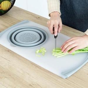 Image 4 - 3 в 1 многофункциональное измельчение продуктов Съемная Складная Силиконовая корзина для слива овощей Антибактериальный кухонный инструмент для резки