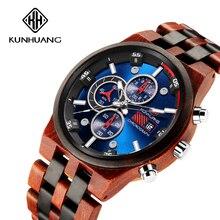 Houten Mannen Quartz Horloge Mannen Sport Horloges Business Hout Horloge Mannelijke Relogio Masculino Luxe Horloge Mens Grote Chronograaf Klok