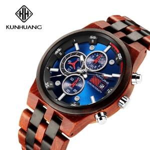 Image 1 - 木製男性クォーツ時計メンズ時計スポーツウォッチビジネス木製腕時計男性レロジオのmasculino高級時計メンズビッグクロノグラフ時計