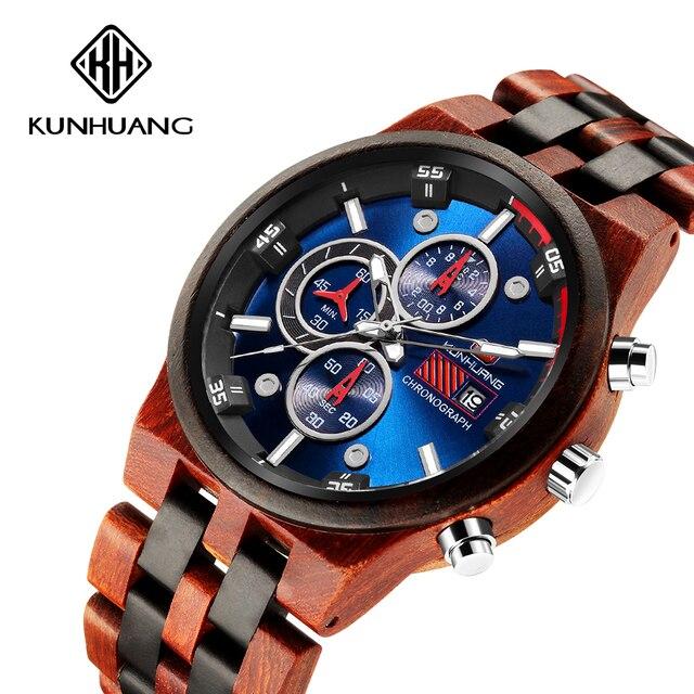 木製男性クォーツ時計メンズ時計スポーツウォッチビジネス木製腕時計男性レロジオのmasculino高級時計メンズビッグクロノグラフ時計