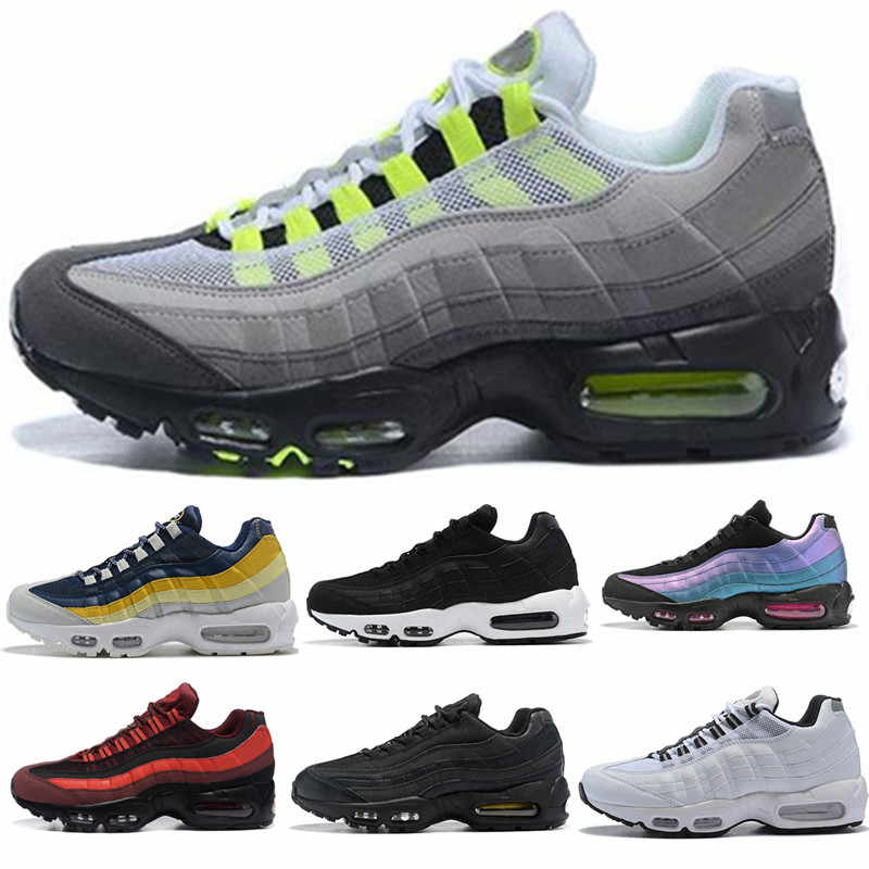 2020 Mens Cushion 95 Running Shoes Authentic Sports Shoes For Men Top Sneakers walking outdoor Shoes Grey Man Training maxes 40 46