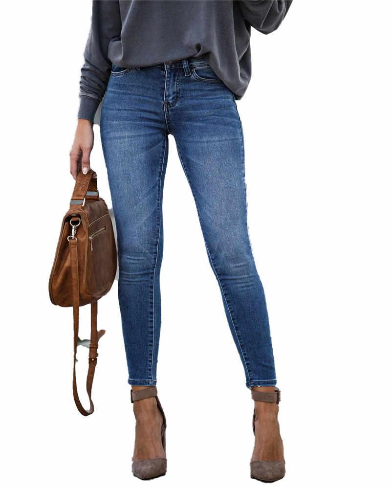 Kot kadınlar için anne kot orta bel kot kadın yüksek elastik artı boyutu streç kot kadın yıkanmış denim sıska kalem pantolon