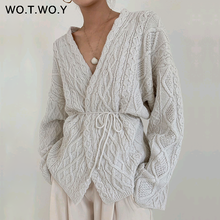 WOTWOY Autumn Knitted White Sweater Women 2019 Casual Criss-Cross Lace Up V-ncek  Women Cardigans Open Stitch Female Jumpers