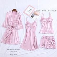 4 pçs pijamas terno íntima lingerie feminina cetim sleepwear kimono robe vestido casual noiva dama de honra presente de casamento sexy camisola