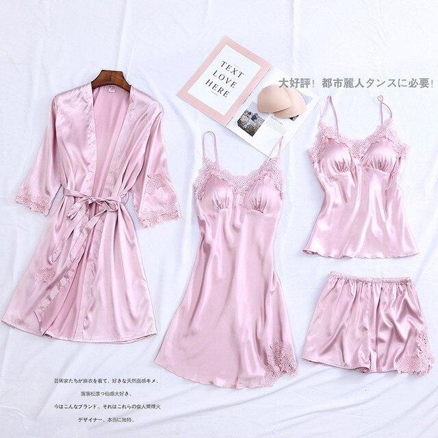 4PCS Pajamas Suit Intimate Lingerie Women Satin Sleepwear Kimono Robe Gown Casual Bride Bridesmaid Wedding Gift Sexy Nightgown