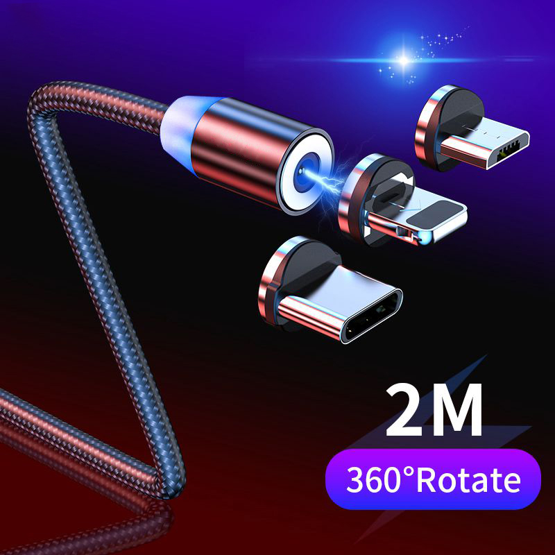 2m Magnetic Cable Micro USB Type C Cable For IPhone 11 7 Samsung S9 Fast Charging Magnetic Charger USB Cables Mobile Phone Cord