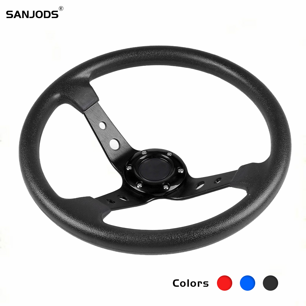 Sports Steering Wheel 14 Inch with Quick Release Game Racing Wheel Moving Modified 350mm Aluminum Universal Racing Rudder JDM