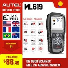 Autel MaxiLink ML619 OBDII OBD 2 เครื่องมือวินิจฉัยรถยนต์รหัส Reader ABS SRS ถุงลมนิรภัยสแกนเครื่องมือ OBD2 เครื่องสแกนเนอร์เช่น Autolink AL619