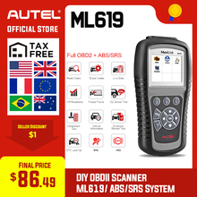 Autel MaxiLink ML619 OBDII OBD 2 araç teşhis kod okuyucu ABS SRS hava yastığı tarama araçları OBD2 otomotiv tarayıcı olarak otomatik bağlantı AL619