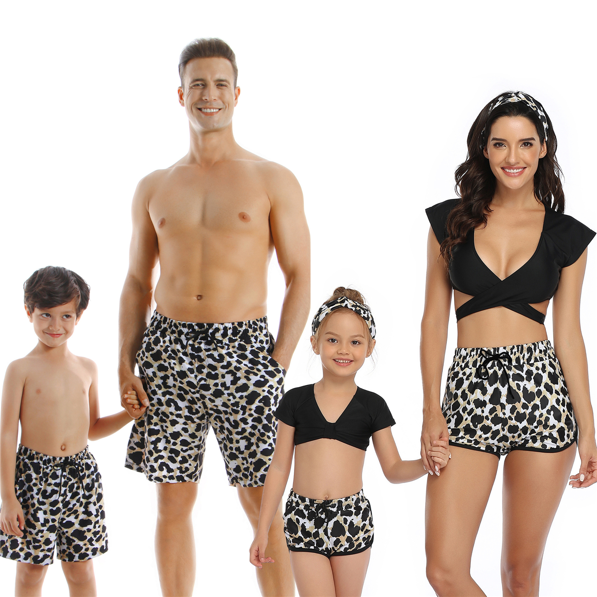 Family Swimsuit Leopard Matching Swimwear Mommy Dad And Me Clothes Outfits Look Mother Daughter Bikini Father Son Swim Shorts
