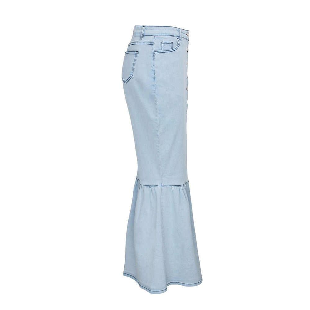 ヴィンテージ女性ハイウエストのジーンズスカートプラスサイズの女性ボタンブルーボディコンマーメイドフリルスリットスカートレトロ夏