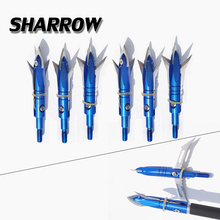 6/12/24pcs Hunting Broadheads 2 Blades Arrowhead 100Grain Arrow Point Target Shooting Screw Tips Accessories