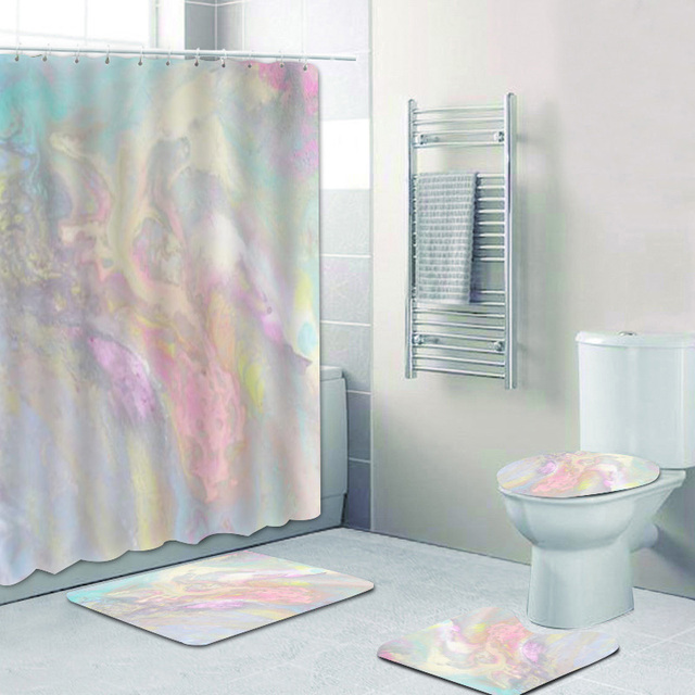 trendy colorful iridescent shower curtain set for bathroom modern pale rainbow bath curtain mat rug for toilet accessories pink