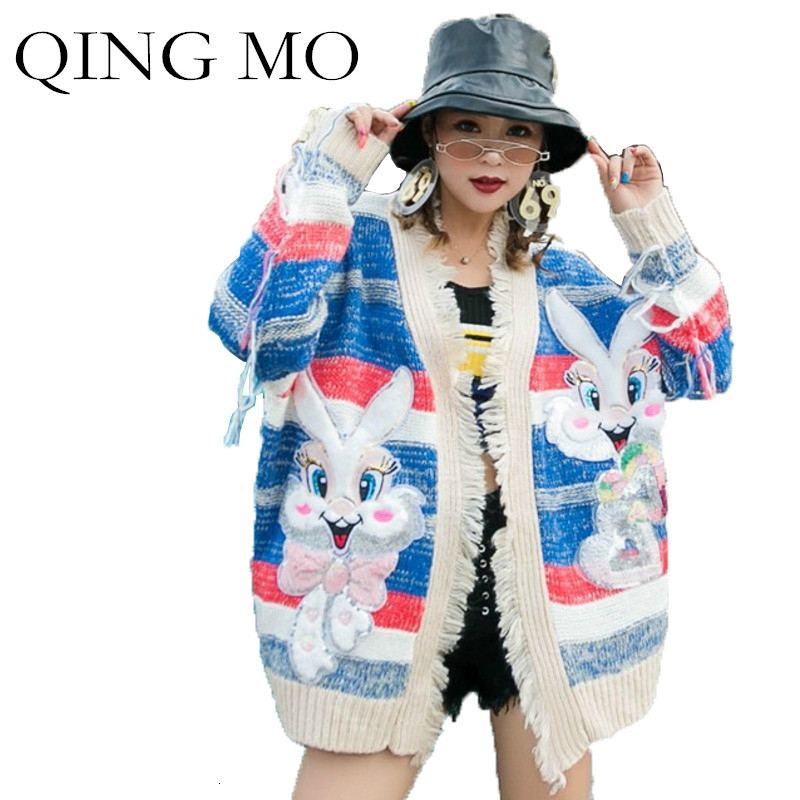 QING MO Colorful Striped Women Sweater With Sequin Women Cartoon Printed Sweater Autumn Knitting Cardigan Sweater Lovely ZQY1560