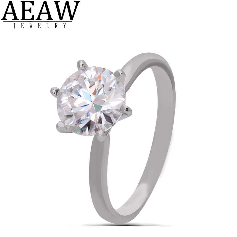 AEAW 14K สีขาวทอง 3.0ct 9mm รอบตัด DF Moissanite แหวนหมั้นแหวนจัดงานแต่งงาน RingFor ผู้หญิงสำหรับสาว
