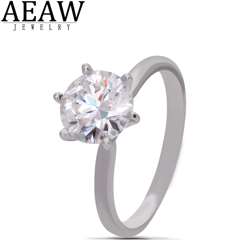 AEAW 14K White Gold 3.0ct 9mm Round Cut DF Moissanite Engagement Ring Anniversary Ring Wedding RingFor Women For Girl