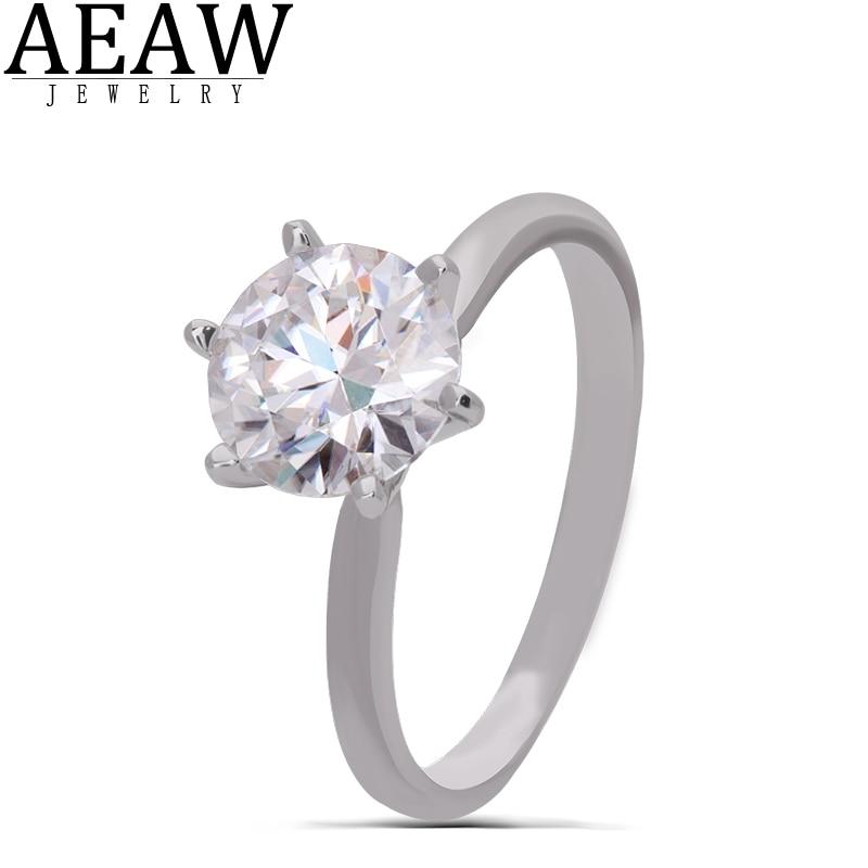AEAW 14K White Gold 3.0ct 9mm Round Cut DF Moissanite Engagement Ring Anniversary Ring Wedding RingFor Women For Girl