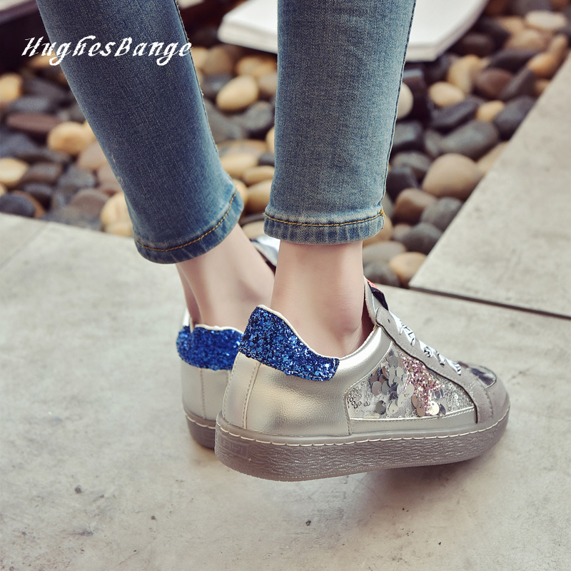 fashion women shoes Little white Spring 2020 Wild Korean Lace Sole Star sequins Hollow ribbon sequins Breathable Comfortable