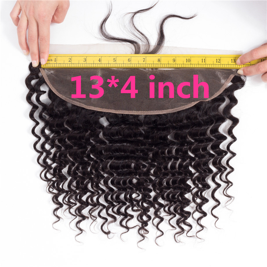 Bling Hair 13x4 Lace Frontal Closure Brazilian Deep Wave Human Hair Closure Ear to Ear Closure Remy Hair Closure Natural Color