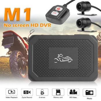 M1 Screenless Motorcycle DVR Full HD 1080P+720P Front+Rear View Dash Cam No Display Screen Front And Rear Double Lenses Recorder