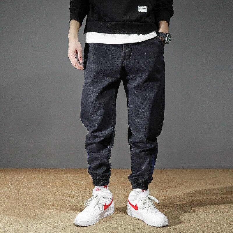 Fashion Streetwear Men Jeans Loose Fit Black Color Spliced Designer Denim Cargo Pants Harem Trousers Hip Hop Jeans Men Joggers