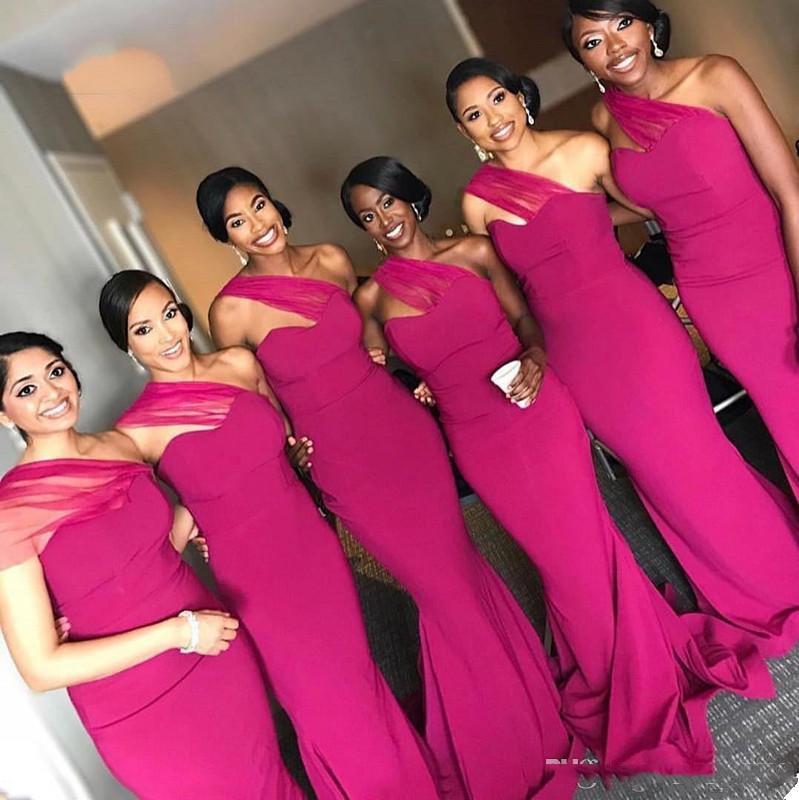 South Africa Black Gilrs Mermaid Fuschia Bridesmaid Dress 2019 One Shoulder Floor Length Evening Gown Robe Demoiselle D'honneur