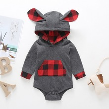 Plaid V-neck Baby Bodysuit Long Sleeve Cotton Boy Clothes Rabbit ears Keep Warm Hooded Body Jumpsuit With Pocket D35