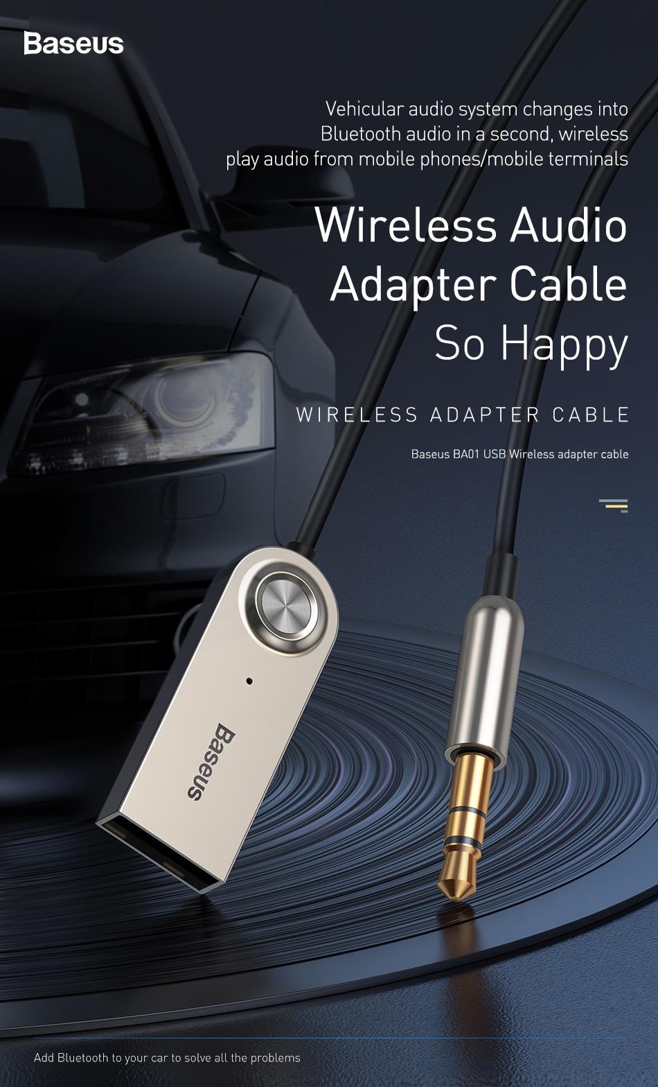 Baseus Ba01 Usb Bluetooth Receiver For Car 3 5 3 5mm Jack Aux Bluetooth 5 0 Adapter Wireless Audio Music Bluetooth Transmitter Wireless Adapter Aliexpress
