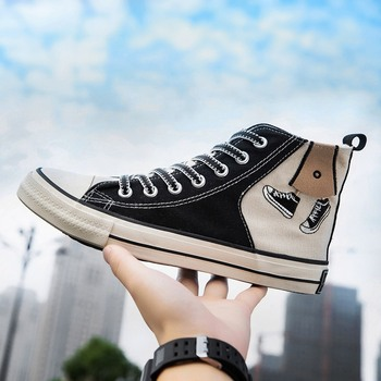 Promotion Brand Sneakers Men Spring/Autumn Vulcanize Shoes Canvas High-top Fashion Casual Graffiti Lace-up Breathable Men Shoes цена 2017