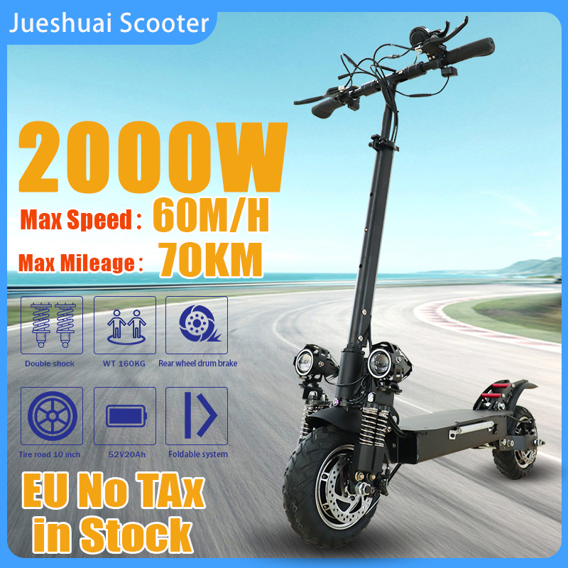 2000W Dual Motor Electric Scooter Adults 60KM/H 18A Battery 70KM Trotinette électrique 10