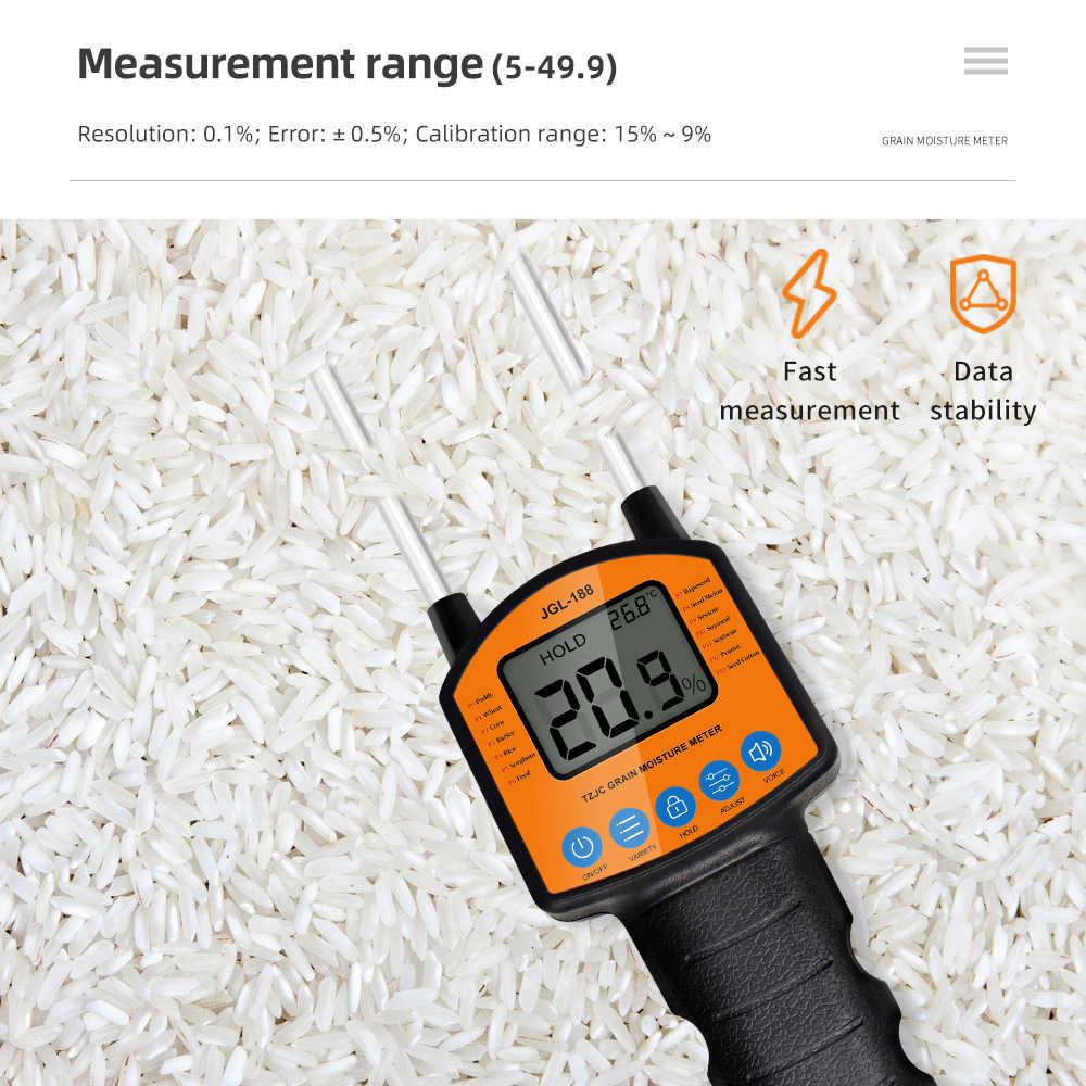 Цифровой измеритель влажности зерна, JGL-188 гигрометр с измерительным щупом для измерения влажности кукурузы, пшеницы, риса, арахиса, сорго