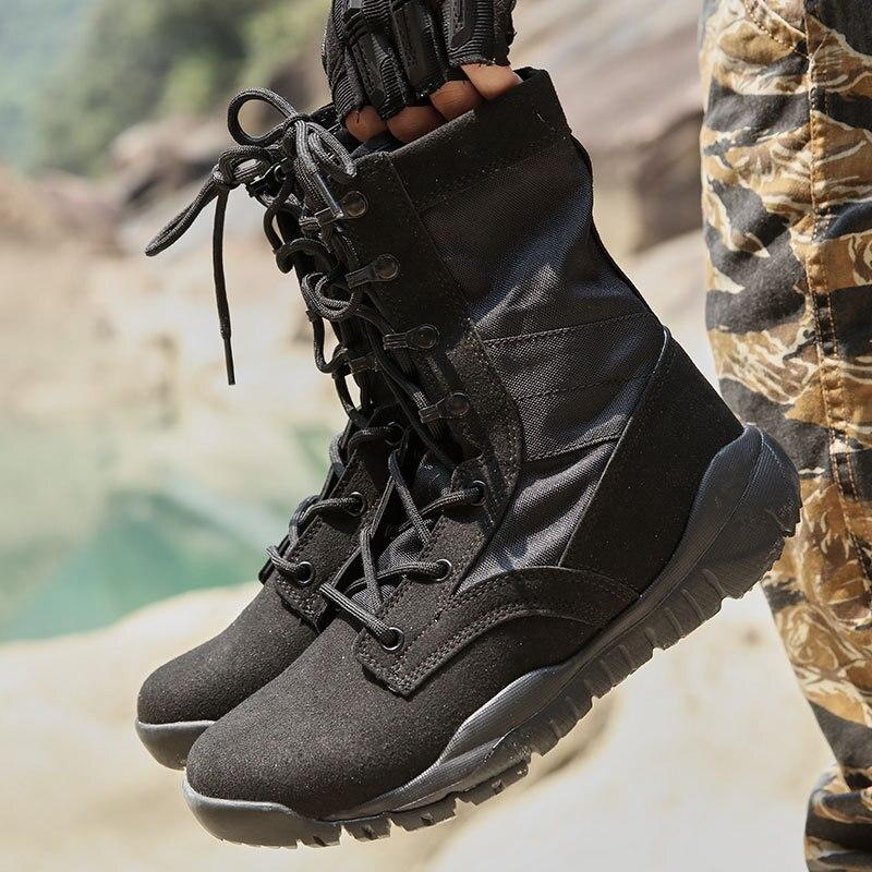 Ultra-Light Combat Boots CQB. Swat Black Velvet Lightweight Combat Boots Shock Absorption Hight-top Outdoor Tactical Boots Hikin